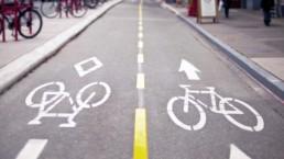 Pista ciclabile in asfalto con strisce tratteggiate gialle e segnaletica orizzontale bianca che indica il senso di marcia