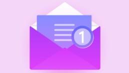 immagine grafica che rappresenta una busta delle lettere viola aperta con una finta lettera sempre colorata di viola che fuoriesce da essa