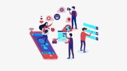 Una grafica stilizzata che rappresenta l'utilizzo dei social da parte degli utenti.